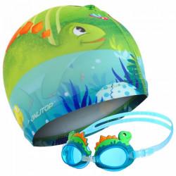 Детские очки  шапочка для плавания  динозаврик