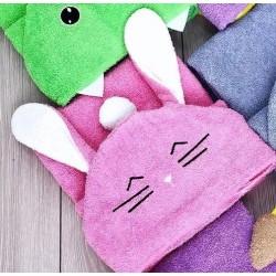 Полотенце с капюшоном уголок розовый зайка