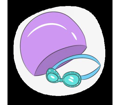 Очки и шапки для плавания