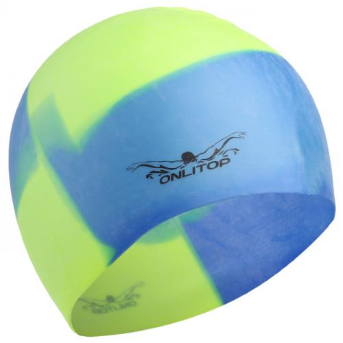 шапочка для бассейна желто голубая силикон