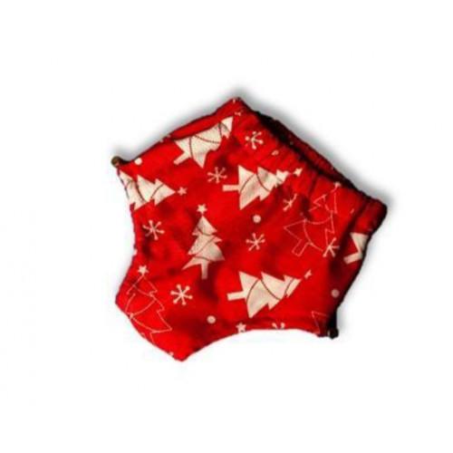 Подгузники для бассейна  высокой талией ёлочка на красном
